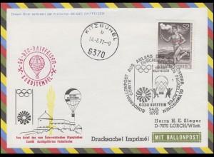 Österreich Sonderballonpost OE-DZC RAIFFEISEN Olympiafahrt Fackellauf 24.8.1972