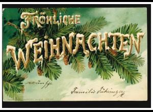 Prägekarte Fröhliche Weihnachten Tanne mit Tannenzapfen, WIEN 23.12.1901