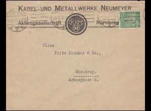 Firmenlochung KMN auf Schnitter-Marke 40 Mark EF Ortsbrief NÜRNBERG 28.6.28