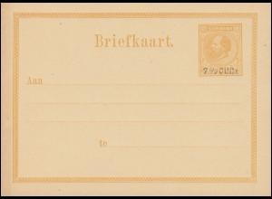 Surinam Postkarte / Post Card 12 1/2 C mit Aufdruck 7 1/2 C 1879, ungebraucht **