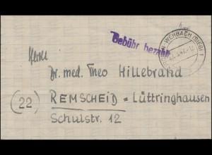 Gebühr-Bezahlt auf Falt-Brief KIRCHEN-WEHBACH / SIEG 27.3.27 nach Remscheid