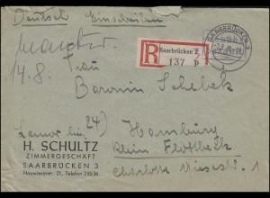 Gebühr-bezahlt-Stempel R-Brief SAARBRÜCKEN 3 - 2.8.46 nach HAMBURG-GROSSFLOTTBEK