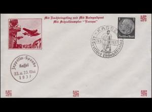 Schmuck-Brief Katapultpost / Schnelldampfer SSt Kassel Philatelistentag 23.5.37