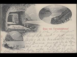Schweiz AK 192 - Gruss vom Vierwaldstättersee, BRUNNEN 1.6.00 nach Tempelhof