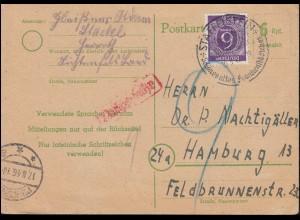 Behelfsausgabe Postkarte P 783I mit Zusatzfr. SSt STAFFELSTEIN 10.3.1947