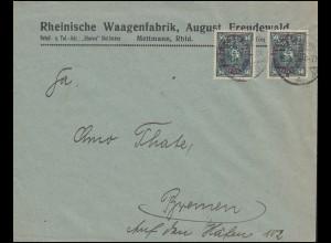 Firmenlochung RWF auf Posthorn 50 Mark MeF Brief METTMANN 15.3.23 nach Bremen