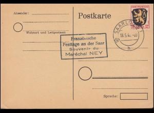 6 Wappen Postkarte SAARLOUIS 18.5.46 Neben-O Französische Festtage an der Saar