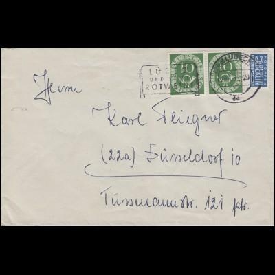 128 Posthorn 10 Pf Paar mit Notopfer Bf LÜBECK und seine Weine 28.10.53