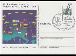 Privatpostkarte PP 151 LV-Tag Walpershofen Europa SSt RIEGELSBERG 28.3.93