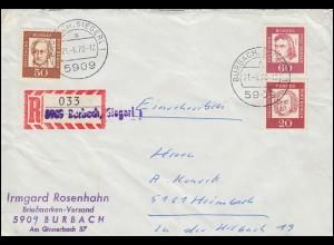 204+208+209 Bedeutende Deutsche MiF Not-R-Zettel BURBACH / SIEGERL. 21.6.70