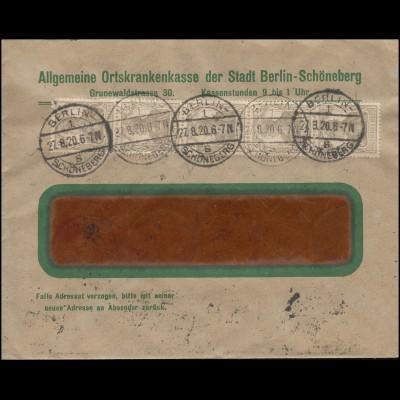 Germania-MiF 2 und 3 Pf in 5er-Streifen Fensterbrief BERLIN-SCHÖNEBERG 27.8.1920