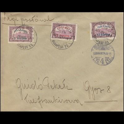 Ungarn 319-321 Flugpostmarken mit Aufdruck, Satz auf Brief BUDAPEST 24.11.1920