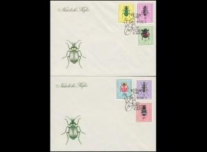 1411-1416 Insekten: Nützliche Käfer 1968, Satz auf FDC 1 und FDC 2