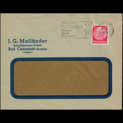 Firmenlochung JGM Hindenburg 12 Pf. als EF Brief STUTTGART-BAD CANNSTATT 29.5.32