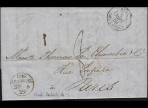 England-Frankreich: Brief aus LIVERPOOL 5.9.59 über CALAIS A - 6.9.59 nach PARIS