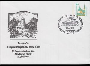 PU 290 SWK 100 Pf Landesverbandstag Hess. Philatelisten-Vereine SSt LICH 22.4.90