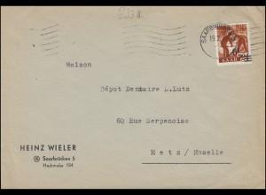 233ZII Aufdruck 6 auf 24 als EF auf Brief SAARBRÜCKEN 2 - 19.2.1948 nach Metz
