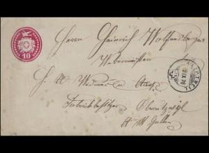Schweiz Umschlag Brieftaube links 10 C. rot, HAUPTWEIL 2.9.78 nach St. Gallen