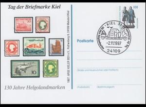 Privatpostkarte SWK 100 Pf 130 Jahre Helgolandmarken, SSt Kiel T.d.B. 2.11.97