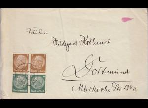 Hindenburg-Zusammendruck 2mal S 151 als Viererblock auf Brief DÜSSELDORF 14.7.38
