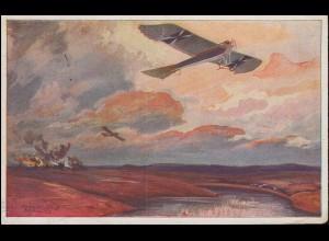 Feldpost AK Militärtaube auf Erkundungsflug bei den Masurischen Seen CÖLN 9.1.16
