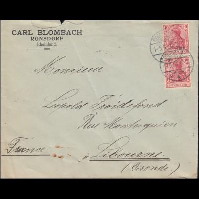 Firmenlochung B.C. seitenverkehrt auf Germania Auslandsbrief RONSDORF 1.5.1908