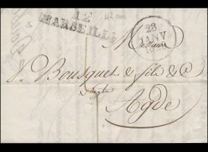 Frankreich Vorphilatelie Brief 12 MARSEILLE Einkreis 28.1.1829 nach Agde 30.1.29