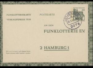 Funklotterie-Postkarte FP 12 Tagesstempel LÜTJENSEE 20.3.1966