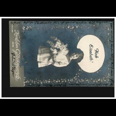 Ansichtskarte Vornamen: Hoch Elisabeth! Mädchen mit Blumen NÜRNBERG 1929