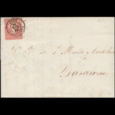 Spanien Königin Isabella 4 Cs. EF Brief REUS / TARRAGONA 29.3.59 nach Barcelona
