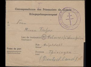 Kriegsgefangenenpost 2. WK Depot 87 Zensur Belfort nach Helmers/Thüringen