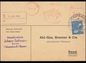 AFS Porzellanfabrik Johann Seltmann SSt VOHENSTRAUSS 12.1.1948 nach Basel