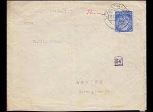 Deutsche Zensur auf Auslandsbrief 522 Hindenburg EF LITZMANNSTADT 16.10.1941