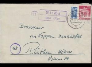 Landpost Bleche über OLPE 7.5.51 auf Brief Bauten 20 Pf mit Notopfer n. Rüthen