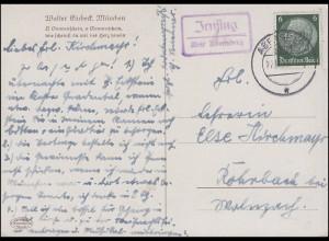 Landpost Irnsing über ABENSBERG 27.11.35 auf AK Gemälde Walter Einbeck Gesang
