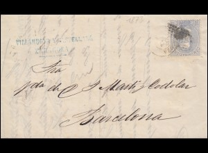 Spanien 122 König Amadeo als EF Brief SARAGOSSA 14.2.1873 nach BARCELONA 18.2.73
