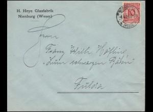 340Pa Korbdeckel EF Brief Glasfabrik H. Heye NIENBURG/WESER 4.4.1924 nach Fulda