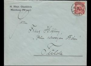 340Pa Korbdeckel EF Brief Glasfabrik Heye NIENBURG/WESER 5.9.1924 nach Fulda