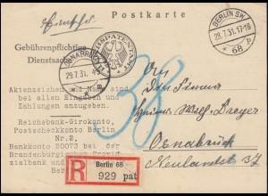 Gebührenpflichtige Dienstsache Reichspatentamt BERLIN 28.7.1931 als R-Postkarte