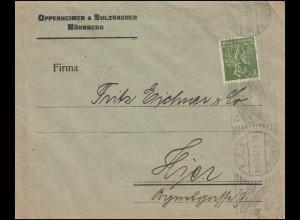 Firmenlochung O&S auf Bergarbeiter 100 Pf. EF auf Orts-Brief NÜRNBERG 22.9.22