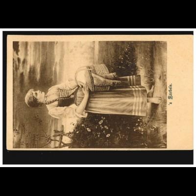 Ansichtskarte Vornamen: 's Bärbele, Bäuerin in Tracht mit Korb, ungebraucht