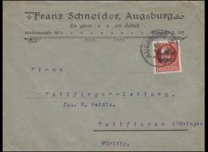 156A Freistaat 15 Pf. EF auf Brief Einkreis AUGSBURG 15.9.1919 nach Teilfingen