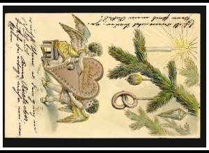 Prägekarte Fröhliche Weihnachten Engel mit Lebkuchenherz, MÜNCHEN 23.12.1904