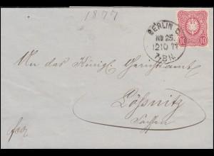 33 Adler 10 PFENNIGE EF Brief Einkreis-O BERLIN C. No. 25 - 12.10.77 n. LÖSSNITZ