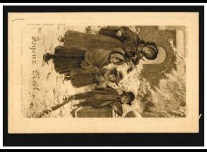 Prägekarte Weihnachten Kinderchor mit Musik Geige, ACACIAS / GENF 23.12.1909