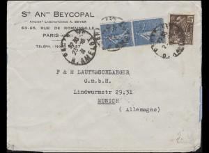 Frankreich 168 Säerin + 258 Kolonialausstellung Bf. PARIS 23.10.31 nach München