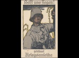 Propaganda-AK Kriegsanleihe als Feldpost von WEFERLINGEN 23.7.17 nach Hildesheim