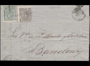 Spanien 127 Hispania mit Kriegssteuermarke ZA 1 Brief TARRAGONA 22.1.1874