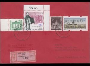 3345 DDR mit Berlin-ATM und 286+872 als MiF auf R-Brief BERLIN ZPF 31.08.1990