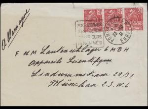 Frankreich 259 Kolonialausstellung MeF Briefvorderseite PONT-AUDEMER 23.10.1931